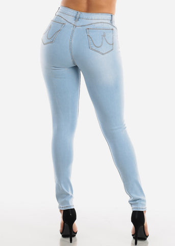 Image of High Rise Levanta Cola Light Skinny Jeans