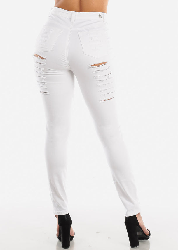 White Ripped High Rise Skinny Jeans