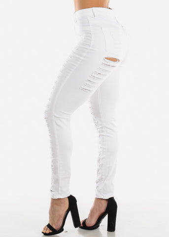 Image of High Rise Ripped White Skinny Jeans