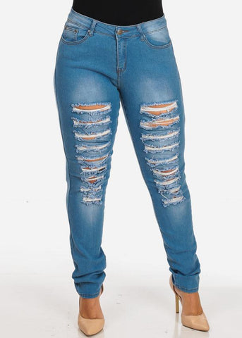 Image of Women's Stylish Curvy Super Stretchy Body Sculpting Plus Size Distressed Med Wash Skinny Jeans