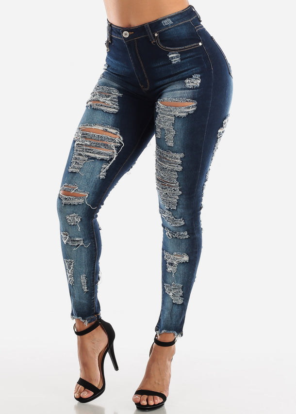 Double Sided Torn Dark Wash Skinny Jeans