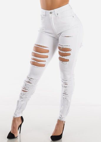 Image of Double Sided Torn White Skinny Jeans