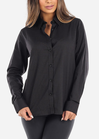 Black Pincheck Button Down Shirt