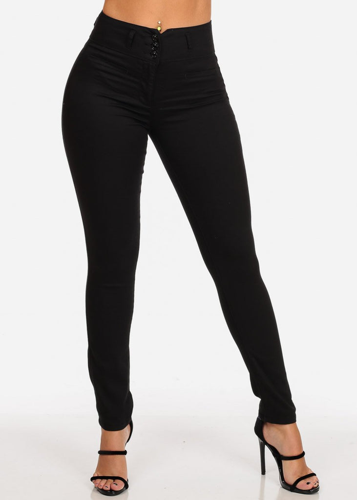 Women's Junior Ladies 3 Button High Rise Solid Black Sexy Dressy Casual Going Out Skinny Pants