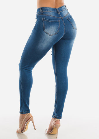 Image of Torn High Waisted Med Wash Skinny Jeans