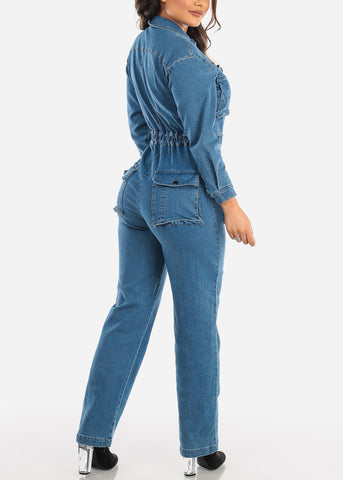 Med Wash Boiler Denim Jumpsuit