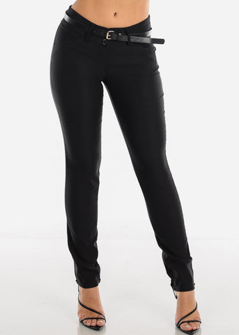 Image of Black Dressy Pants With Belt