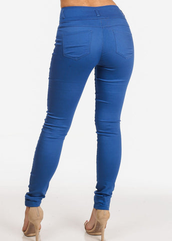 Image of Women's Junior Ladies Stylish Going Out Comfortable Stretchy 3 Button High Waisted Solid Blue Skinny Pants