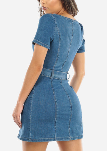 Snap Button Up Denim Mini Dress