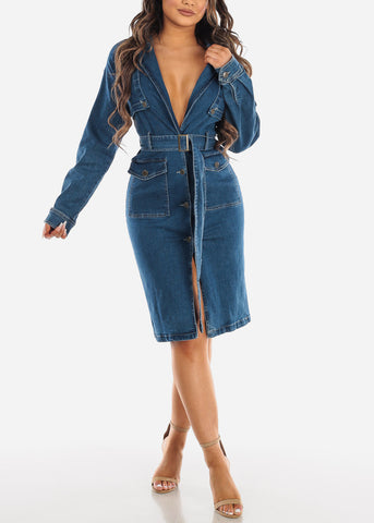 Image of Med Wash Trench Denim Dress