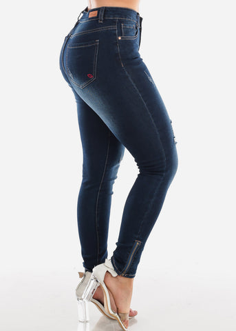 Sexy High Waisted Dark Wash Ripped Distressed Skinny Jeans With Leg Zipper For Women Ladies Junior