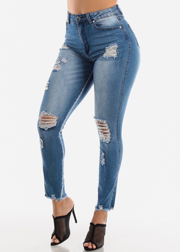 High Waisted Torn Med Skinny Jeans