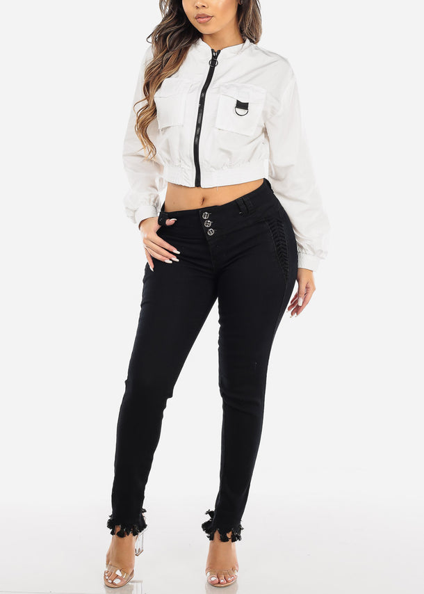 Black Mid Rise Butt Lifting Skinny Jeans
