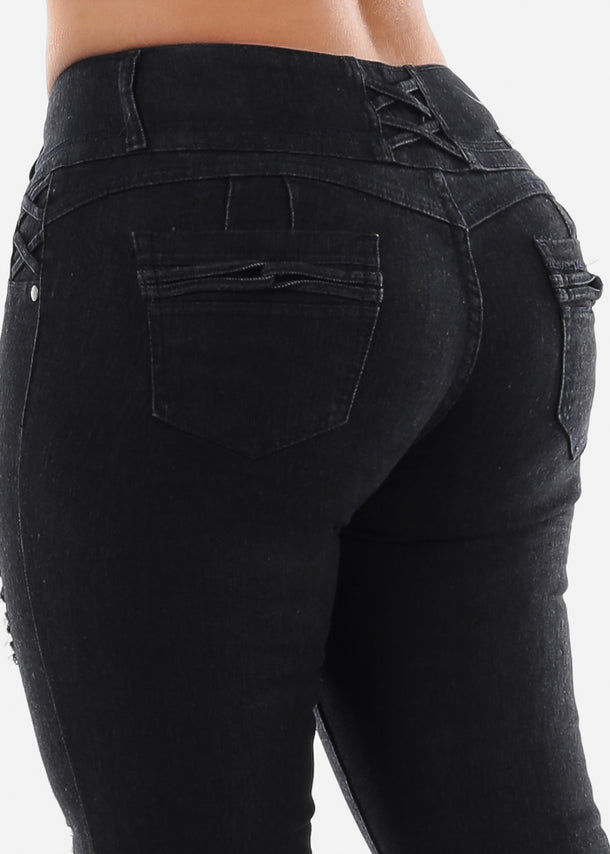 Butt Lifting Plus Size Black Skinny Jeans