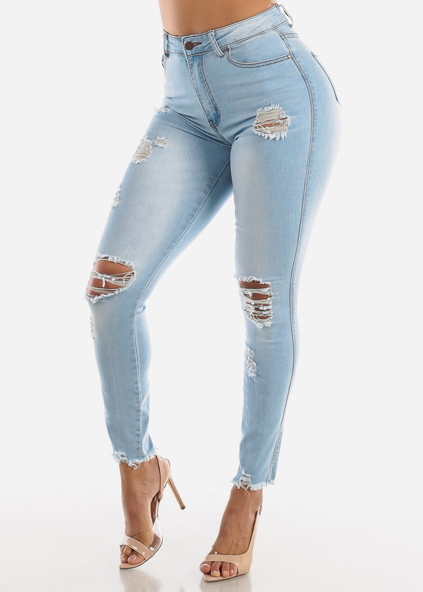 High Waisted Torn Light Skinny Jeans