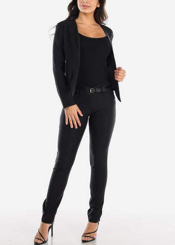 Image of Open Front Black Blazer