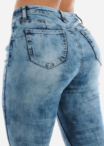 Image of Acid Wash Distressed Denim Capris