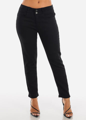 Image of Mid Rise Black Ankle Jeans TP1000BLK