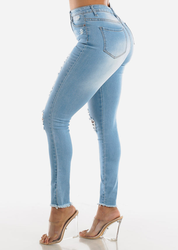 Ripped Light Wash Denim Skinny Jeans
