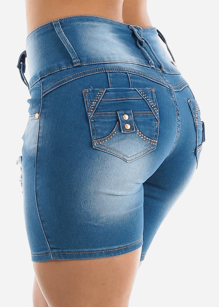 Butt Lifting Light Wash Ripped Denim Shorts