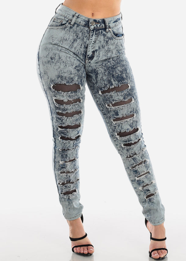 High Waisted Acid Wash Fishnet Distressed Stretchy Skinny Jeans