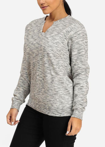 Image of Heather Grey Slit Neck Sweatshirt