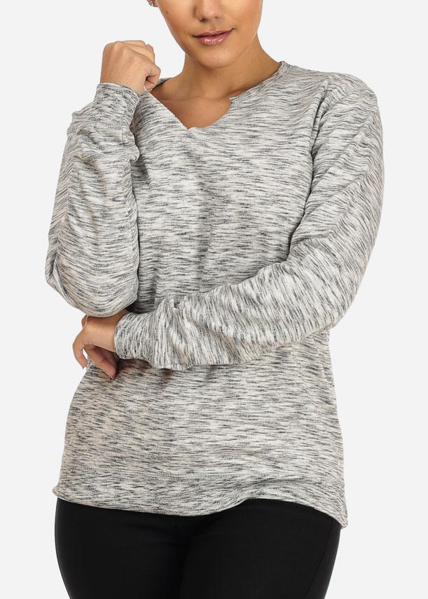 Heather Grey Slit Neck Sweatshirt