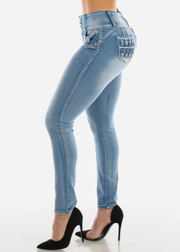 Push Up Acid Wash Skinny Jeans