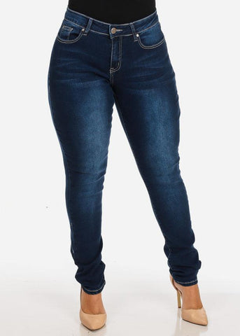 Image of Women's Stylish Curvy Super Stretchy Body Sculpting Plus Size Dark Wash Skinny Jeans