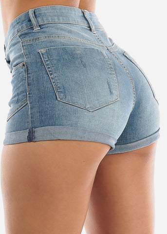 Button Up Faded Wash Denim Shorts