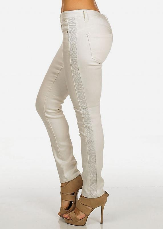 Low Rise White Skinny Pants