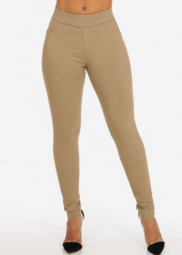 Stylish Trendy Stretchy Going Out Night Out Sexy Classic Basic Beige Skinny Pants