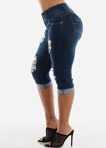 Butt Lifting Dark Wash Denim Capris