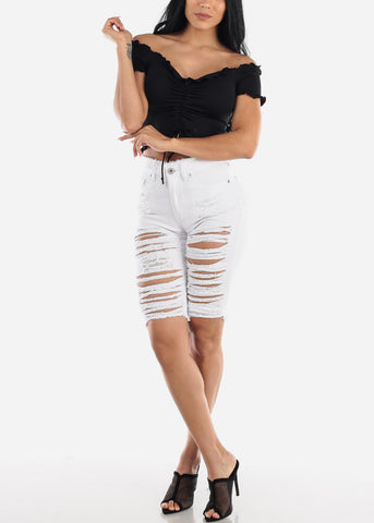 Image of White High Waist Distressed Bermuda Shorts