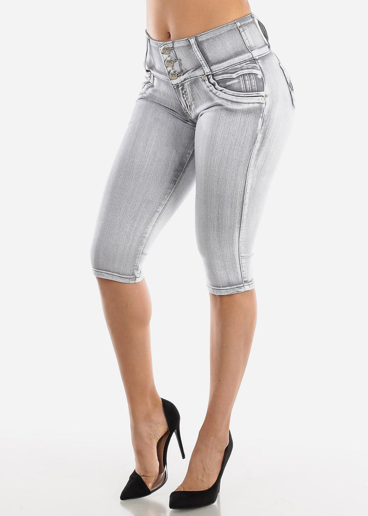 Butt Lifting Gray Denim Capris