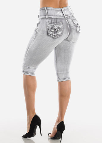 Image of Butt Lifting Gray Denim Capris