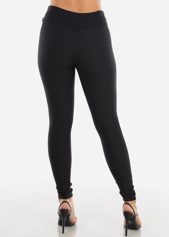 Button Front Skinny Black Pants