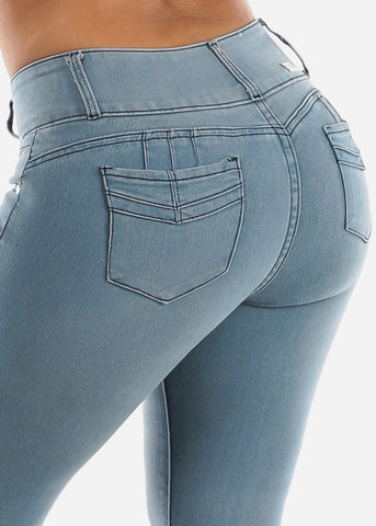 Image of Light Wash Butt Lifting Skinny Jeans