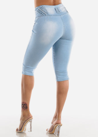 Image of High Waisted Butt Lifting Light Wash Denim Capris