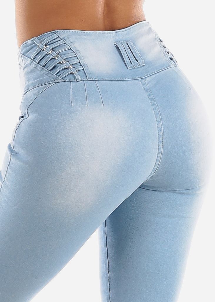 High Waisted Butt Lifting Light Wash Denim Capris