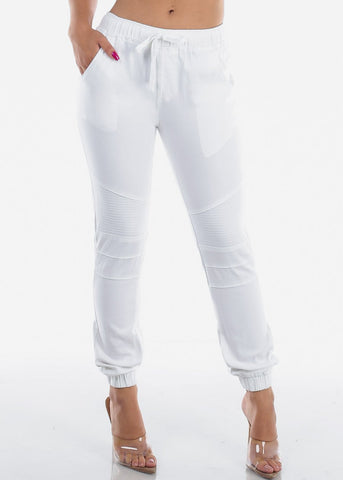 Image of White Moto Jogger Pants