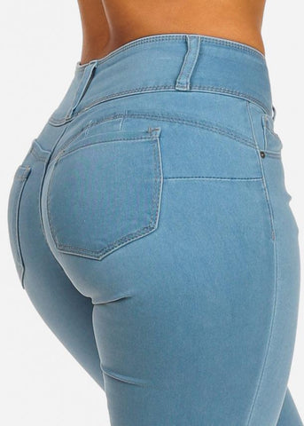Image of Light Wash High Rise Butt Lifting Skinny Jeans