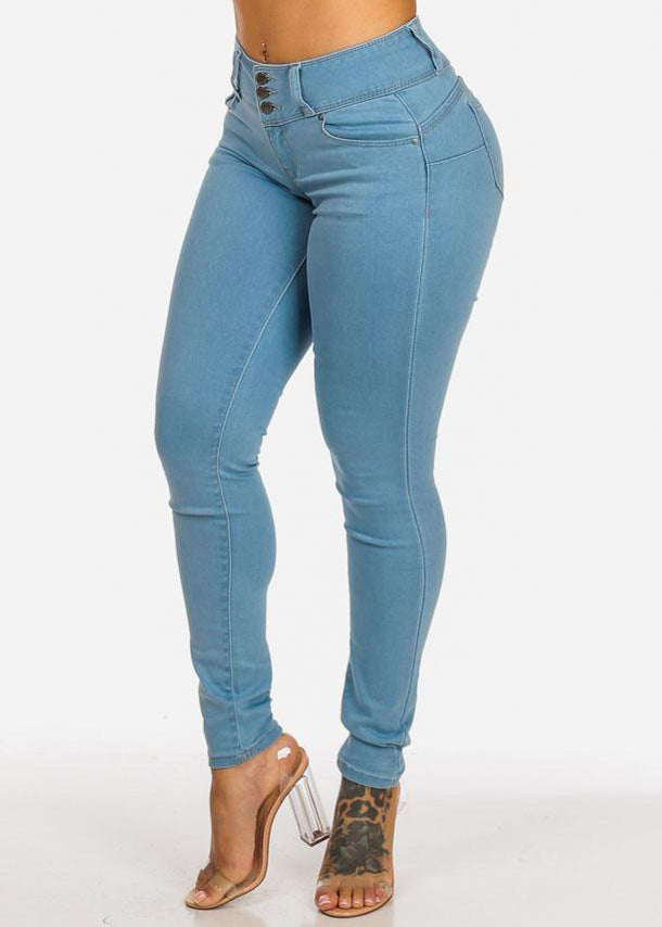 Light Wash High Rise Butt Lifting Skinny Jeans