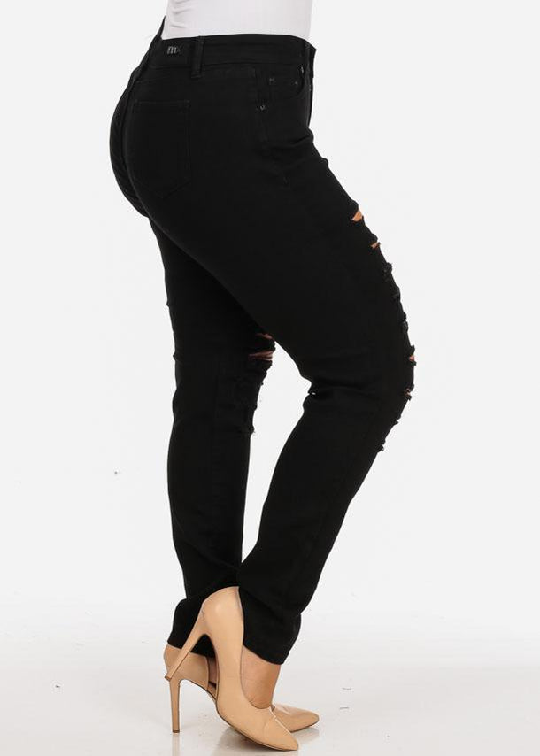Plus Size Ripped Black Skinny Jeans