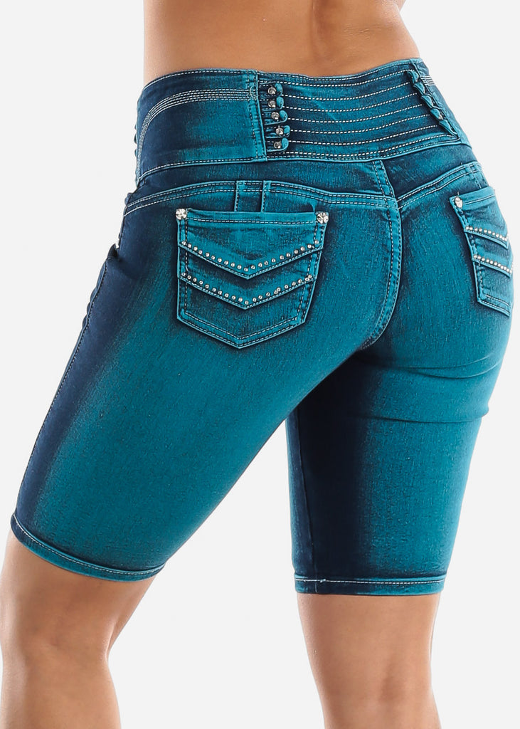 Butt Lifting Teal Denim Bermuda Shorts