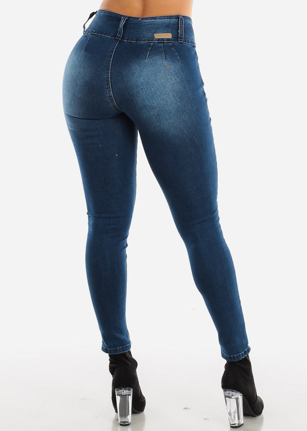 Dark Blue Wash Ripped Push Up Skinny Jeans