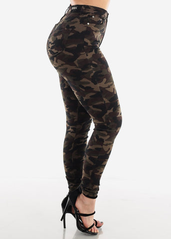 High Rise Camouflage Skinny Jeans