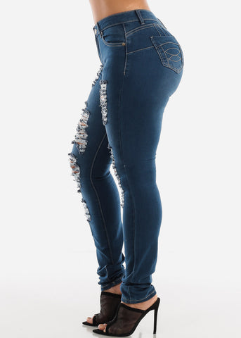 Image of Med Wash Levanta Cola Torn Skinny Jeans