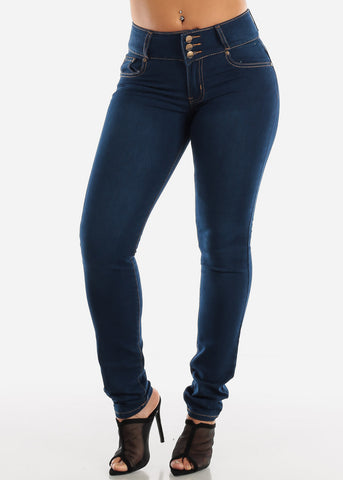 Image of Dark Wash Mid Rise Levanta Cola Skinny Jeans
