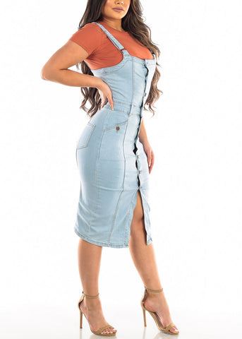 Image of Light Wash Denim Overall Dress